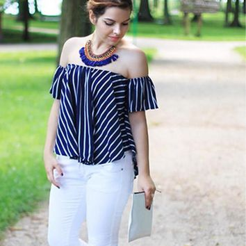 Women Striped Off The Shoulder Swing Top New Ladies Tops Sexy Shirt Casual High Low Loose Blouse