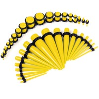 BodyJ4You Gauges Kit 18 Pairs Yellow Acrylic Tapers & Plugs 14G-00G 36 Pieces