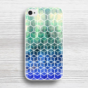 The Geometry of Bees and Boxes - cobalt blue, emerald green, mint & white case iPhone 4s 5s 5c 6s 6 Plus Cases, Samsung Case, iPod 4 5 6 case, HTC case, Sony Xperia case, LG case, Nexus case, iPad case