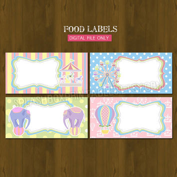 Carnival Carousel Printable Food Labels - Amusement Park Party for Girls Place Cards or Food Tent Cards - INSTANT DOWNLOAD
