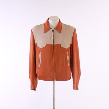 50s MEN'S Reversible RICKY JACKET / 1950s Plaid & Rust Gabardine, m