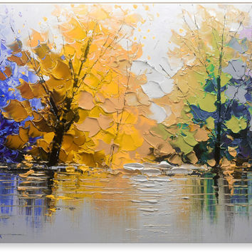 Oil Painting Abstract Modern Contemporary Wall Decor Landscape Art on Canvas Lake in Fall