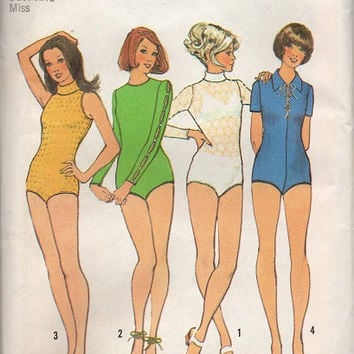 Simplicity 70s Sewing Pattern Uncut FF Long Short Sleeveless Bodysuit One Piece Body Suit Snap Crotch Collarless Leotard