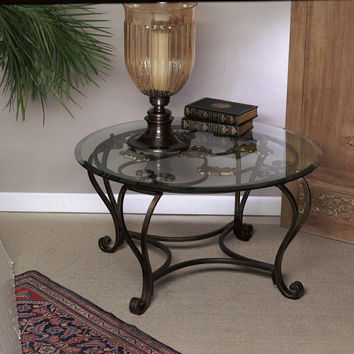 Dessau Home Florence Coffee Table W/Brass Medallions & Bevelle - Me2093