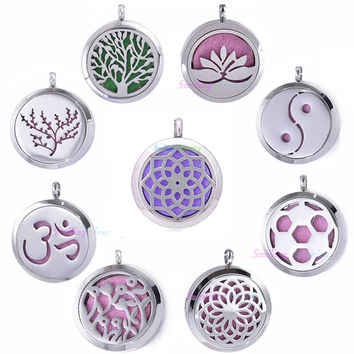 1pc 100% 316L Stainless Steel Locket Round Fashion Aromatherapy Perfume Necklace Pendants Essential Oil Diffuser Lockets
