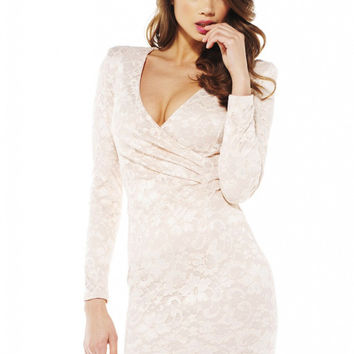 White Floral Lace Pleated V-Neck Long Sleeve Mini Dress