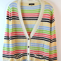 Verty  Stripe Knit Button Up Cardigan
