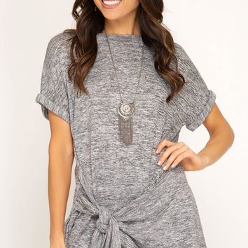 Toma Grey Side Tie Top