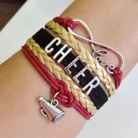 Cheer bracelet, love cheer Bracelet, Cheerleader bracelet, cheerleading gift, megaphone bracelet, black/maroon/gold color