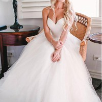 [149.99] Glamorous Tulle Spaghetti Straps Neckline A-line Wedding Dress With Lace Appliques - Dressilyme.com