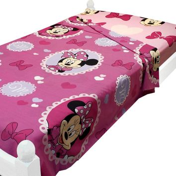 Disney Minnie Mouse Twin Bed Size Sheets Cameo Hearts Bedding Accessories