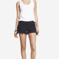 2 INCH MID RISE LACE-UP DENIM SHORTS from EXPRESS