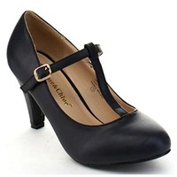 CHASE & CHLOE KIMMY-31 Women's Basic Round Toe T-Strap Mid Heel Dress Pumps