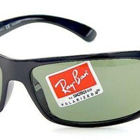One-nice™ Ray Ban RB4075 4075 601/58 Black RayBan Wrap Polarized Sunglasses 61mm