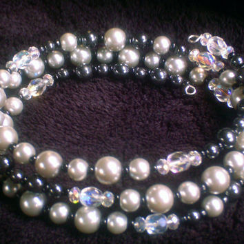 Silver Pearl and Hematite Memory Wire Bracelet