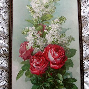 c1896 Cabbage Roses Lilacs Print Paul de Longpre Yard Long Panel Tall American Beauty Roses Chromolithograph Flower Floral Rare Book Author Autographed