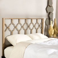 Motif Design Honeycomb Metal Headboard and Aura Deluxe Platform Bed - Gold | Overstock.com Shopping - The Best Deals on Beds