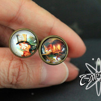 Cheshire Cat and Mad Hatter cuff links print geekery  wedding father's day Lewis Carroll