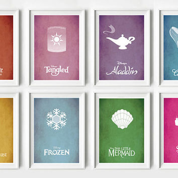 8 x Disney Movie Posters - Disney Princess, Poster, Minimalist Print, Digital Art Print