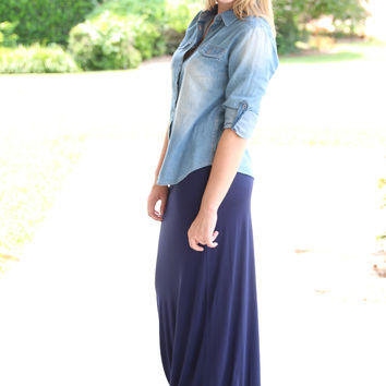 Only the Best Maxi Skirt- Navy