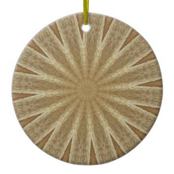 Kaleidoscope Design Light Brown Rustic Floral Ceramic Ornament