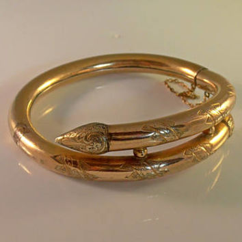 Victorian Bypass Bangle Bracelet, Stylized Etruscan Snake, Etched Rolled Rose Gold Filled, Hinged