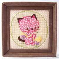 Vintage Wall Decor Embroidered Cat 1960's Kitty Cat Nursery Decor