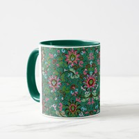 Antique floral and scroll vase print mug