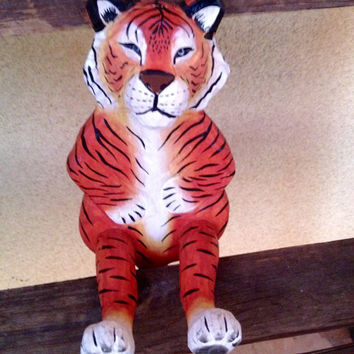 Tiger Figurine, Wooden Handmade Tiger Figurine, Tiger ahome Decor, Tigrr Gift