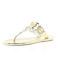 River Island Womens Gold metallic jelly sandals