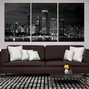95823 - Chicago Wall Art Canvas Print - Extra Large Chicago City Night Canvas Print - Chicago Skyline Night Canvas Print