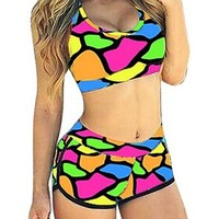 Womens Floral Sports Bikini Bathing Swimsuit Swimwear Set