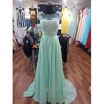 2017 Mint Green Chiffon Scoop Lace Cap Sleeve Beaded Bridesmaid Dresses Plus Size Summer Wedding Party Dress vestidos de festa
