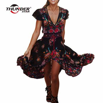 Summer Boho Dress Women Ethnic Sexy Print Retro Vintage Dress Tassel Beach Dress Bohemian Hippie Dresses Robe Vestidos Mujer LX4