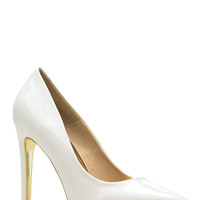 Gold Bottom White Faux Patent Leather Pointed Toe Classic Pumps