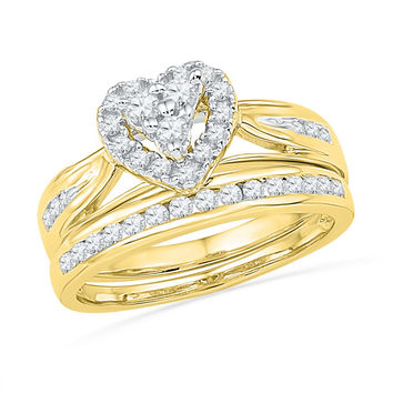 10k Yellow Gold Womens Natural Round Diamond Heart Cluster Bridal Wedding Engagement Ring Set 1/2 Cttw