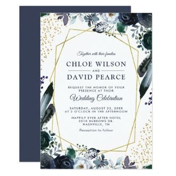 Rustic Navy Peony Gold Geometric Frame Wedding Invitation