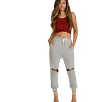 Heather Gray Take Me Out Cut Jogger Pants