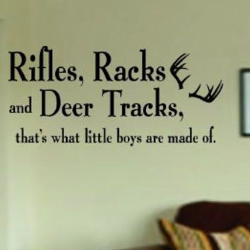Rifles Racks and Deer Tracks Decal Sticker Wall Boy Girl Teen Child