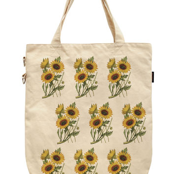 Women Sunflower Abstract Printed Canvas Tote Shoulder Bags WAS_39