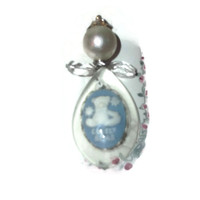 Lovely Teddy Bear Baby Blue Angel Christmas Resin and Pearl Ornament Cameo Free Shipping Coupon Layaway CIJ