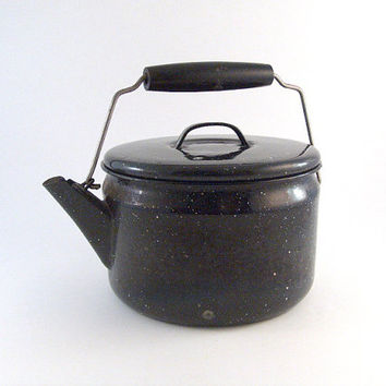 Vintage Tea Kettle Teapot Graniteware Wood Handle Lidded