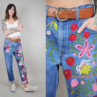 EMBROIDERED vtg 70's floral LEVI'S Boyfriend JEANS Faded worn-in Oversized Orange tab baggy boho