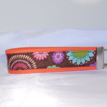 Pretty Orange Keychain Wristlet With Floral Starburst Fabric
