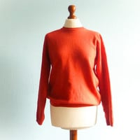 Vintage orange sweater top pullover / casual / fall winter / long sleeves / scoop neck / medium