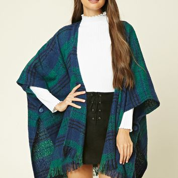 Plaid Tassel-Trim Poncho