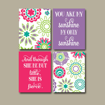 PINK PURPLE Wall Art You Are My Sunshine Wall Art She Be But Little She Is Fierce Girl Bedroom Artwork Nursery Quote Sunshine Print Set of 4