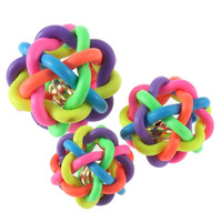 Hot colorful ball cat toy with bell for small medium dog pet product Chihuahua Yorkshire Poodle pet toy dog toy