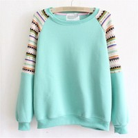 Starker2014 Fashion women's embroidered Fleece Sweater Knitted Sweater (One size, Green)