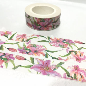 pink Lily washi tape 10M x 1.5cm pink flower calla lily masking tape pink lily sticker tape flower green leaves scrapbook gift wrapping